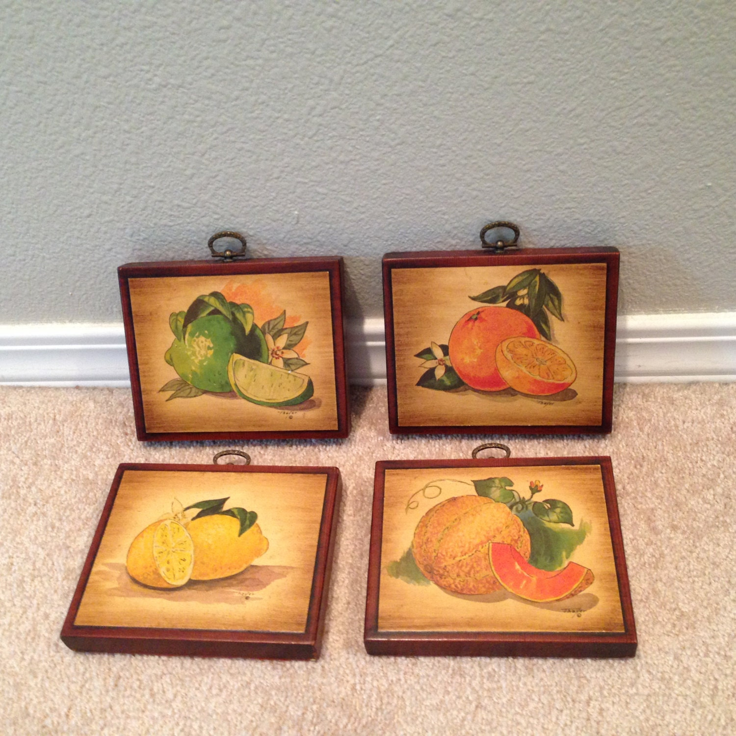 fruit set of four picture wall art decoupage. Black Bedroom Furniture Sets. Home Design Ideas