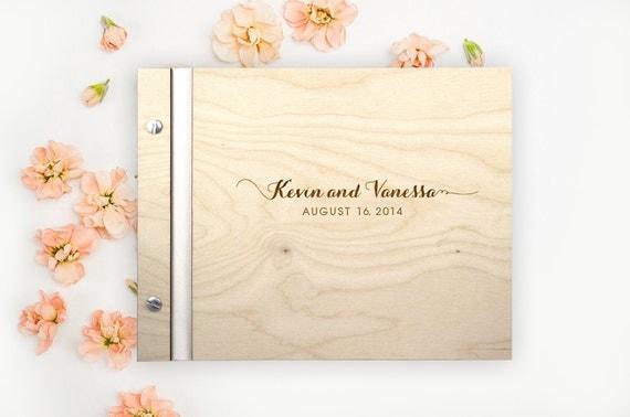 Sweet Caroline Wedding WOOD Guest Book