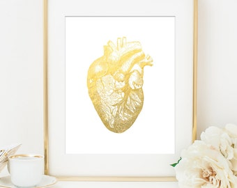 heart anatomy faux gold foil art print white gold home office decor imitation gold leaf gold heart anniversary gift anatomy home office