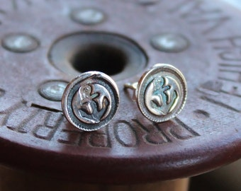 Petite Anchor Post Earrings - Nautical Silver Stud Earrings - Anchor Earrings