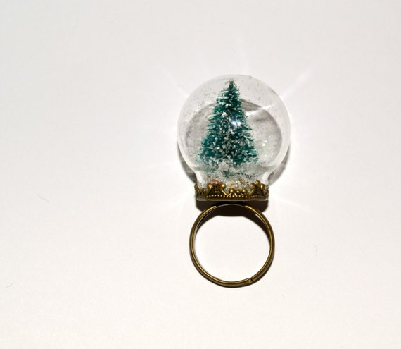 Christmas tree ring glass globe adjustable snow