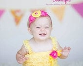 Baby Girl 1st Birthday Outfit - Cake Smash Outfit- Ruffle Rompers - Baby Romper - You are my Sunshine Birthday Outfit - Yellow Petti Rompers