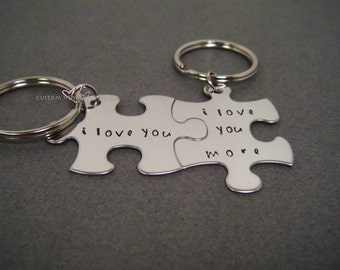 I love you Keychains, Anniversary Gift, Romantic Gift, puzzle piece keychains, Boyfriend Gift Girlfriend, Husband Wife gift, gifts under 30