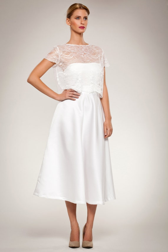 Blouse Cropped Short Sleeve Lace Top Cover Up With Scalloped