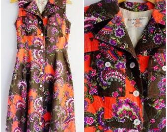 Vintage  Shirt Dress /Pink/Floral Print/Sleepless/1970s