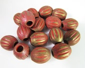 16 Vintage 12mm Matte Antiqued Cinnabar and Bronze-Gold Carved Large Hole Tribal Ethnic Asian Lucite Beads Bd1252