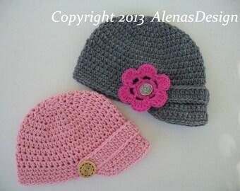 Crochet Pattern 082 - Crochet Hat Pattern - Hat Crochet Pattern for Baby Visor Beanie Hat 0-3, 3-6, 6-24 months - Baby Boy Baby Girl Toddler
