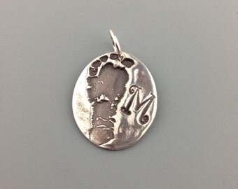 Mother's - Necklace - Footprint - Impression - Pendant - Charm - Custom - Baby Gift - Sterling Silver - Jewelry - Personalized