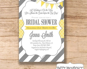 Bridal Shower Invitation / Yellow Grey Bridal Shower invitation / Yellow/Grey Invitation