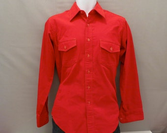 Mens Red Corduroy Shirt by Campus, Small, Vintage