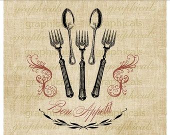 Dining decor Bon Appetit instant clip art Fork Spoon digital download image for iron on fabric burlap transfer decoupage pillow 1910