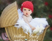 Baby Christmas Hat -  Baby Girl Hat - Baby Hat  Flapper Hat with Jewel - Red or Fushia Pink with Pearl Accent