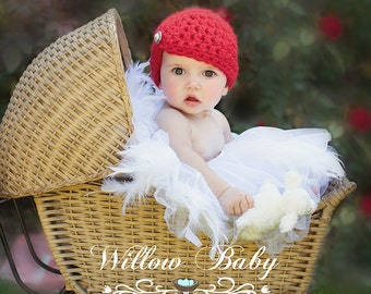 READY Baby Hat - Baby Girl Hat -  Flapper Hat with Jewel - Red or Fushia Pink with Pearl Accent
