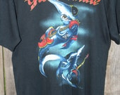 Vintage 1989 GREAT WHITE T-Shirt Black Cotton / Poly Size L Paper Thin Deadstock RESERVED wermerscheemmely