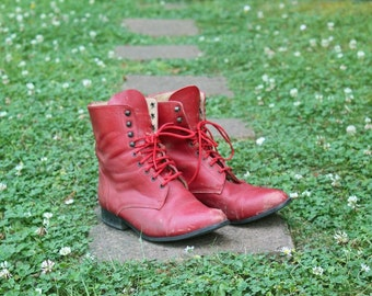 Vintage Red Leather Lace Up Riding Boots sz US 6 to 6.5