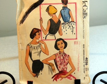 "1957 retro women's blouse pattern-McCall's sleeveless ""easy to sew""-chic retro blouse-pleated neckline"
