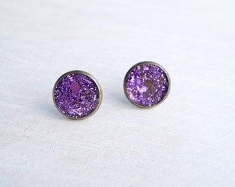 Large Purple Glitter Stud Earrings