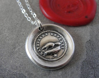 Wax Seal Necklace Perseverance - antique wax seal jewelry Beaver - Key to Happiness by RQP Studio