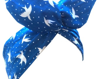 Royal blue and white swallow bird print Rockabilly Pin up Wire Headband Hair Wrap