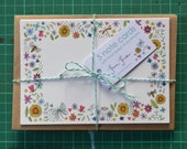 Floral Note Card Stationary Set x 5