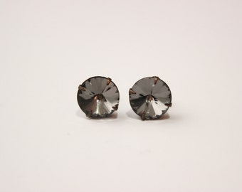 Black diamond rhinestone studs - black crystal earrings on titanium nickel-free posts for sensitive ears
