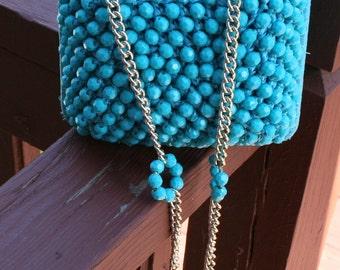 Vintage Beaded Purse Aqua Blue