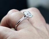 White Sapphire Engagement Ring Cushion Diamond Alternative Phoebe 2.5 3 ct 8mm Custom Size White-Yellow-Rose Gold-10k-14k-18k-Platinum