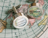 Personalized Map Cuff links
