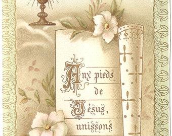Antique French Holy Prayer Card Communion Chalice with Scroll & Flowers Christian Catholic from Vintage Paper Attic