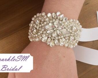 Rhinestone Bracelet, Crystal Cuff, Bridal Cuff, Wedding Bracelet, Beaded Bracelet, Bridal Bracelet, Bridesmaids Bracelet, Crystal Bracelet