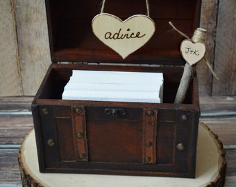 Rustic-wedding-bride-groom-advice-box-trunk-suitcase-holder-card-sign-western-camouflage-hunting-hunter-woodland-Mr ans Mrs-wishes-wood box