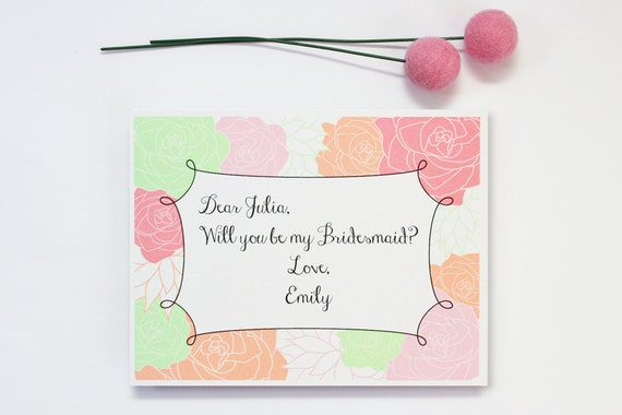 Will You Be My Bridesmaid Cards Custom Wedding Party Cards Personalized Flower Girl Cards Maid of Honor Cards Floral Mint Coral Blush Pink
