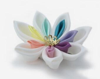 Rainbow Wedding Hair Flower  - Rainbow Kanzashi Flower  - Pastel Rainbow Flower - Kawaii Wedding - Rainbow Hair Accessory