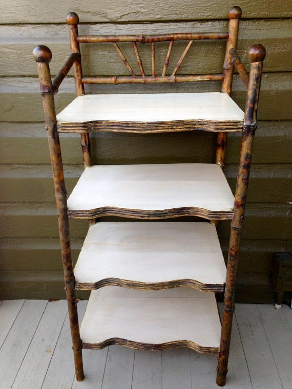 Vintage Antique Shelf Bamboo And Wood Shelves Bookcase Four