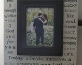 DAD from Bride 13x22 Personalized Wedding Frame Custom I Will Forever Be Grateful