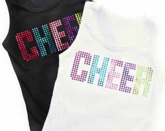 Girl's CHEER Tank Top - Black or White - Sleeveless Shirt -  Toddler Little Girl 12mo 24mo 2 3 4 5 6