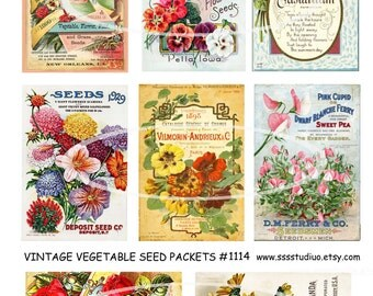 Vintage Flower Seed Packets, Digital Collage Tags, Spring Labels, Mixed Media, Digital Download, craft supplies * tools, card supplies,