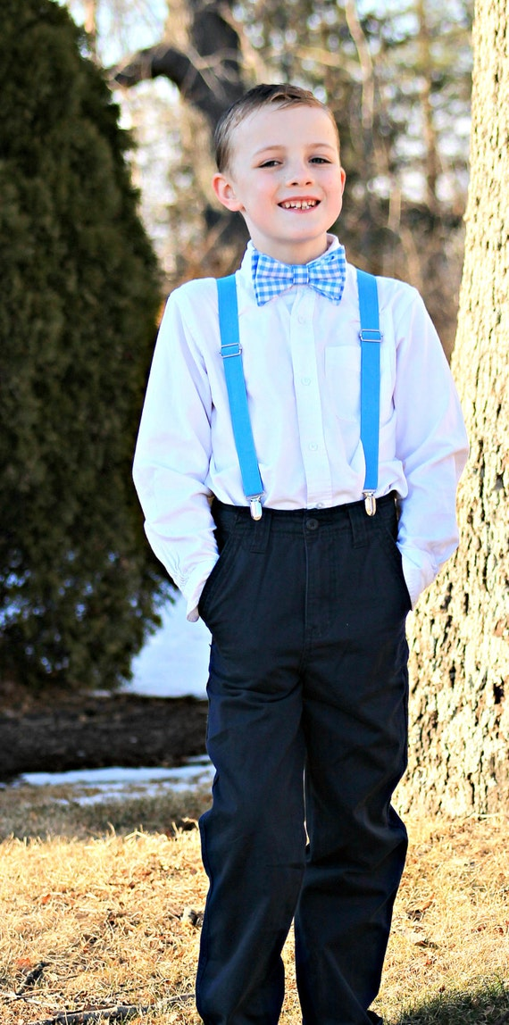 Bow tie and Suspenders Set --  Light Blue Gingham