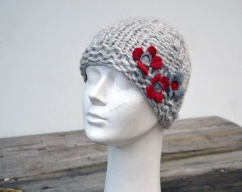 hat for a girl, toddler pearl grey beanie, red felt flowers poppies kids small beanie ooak womans funny hat, unique fashion, art to wear 133