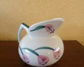 Vintage/Pitcher/TULIPS/MID CENTURY/Creamer/Pink Tulips/Hand Painted