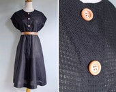 Vintage 40's Black Eyelet Cotton Dress with Peach Buttons M L or XL
