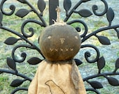 Extreme Primitive Folk Art round head Black Pumpkin Halloween JOL Girl Doll~simple, prim