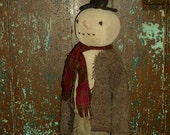 Extreme Primitive Folk Art Snowman Doll - round head - rustic, simple, prim
