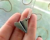Silver Paper Plane Origami Necklace