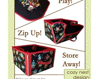 PDF Sewing Pattern:  Convertible Play Mat & Storage Tote- cozy nest design