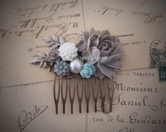 Gray Hair Comb Wedding Woodland Bridal Hair Accessories Head Piece Aqua Blue Winter White Silver Leaves Branches Pearl Rustic Big Rose WR