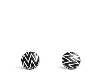 black stud earrings chevron earrings black studs resin post earrings funky earrings zig zag earrings black and white studs gift idea for her