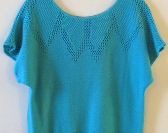 Turquoise Short Sleeve Sweater M 38 Bust