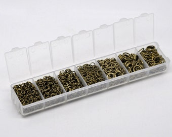 1 Box Set jump rings antique bronze 4mm-9mm round open 1510 pcs assorted sizes DB13000