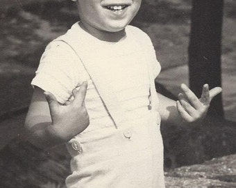 "SALE - Adorable 1950s 5"" x 7"" Black & White Photo of Cute Toddler Boy - Very Expressive"